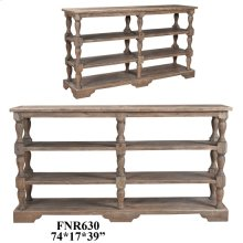 Bengal Manor Acacia Wood Turned Leg Tiered Console