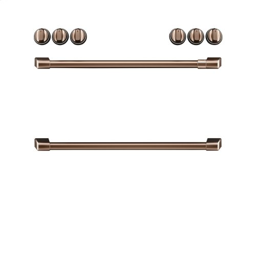 Café Front Control Induction Knobs and Handles - Brushed Copper