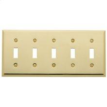 Polished Brass Beveled Edge 5 Gang Toggle