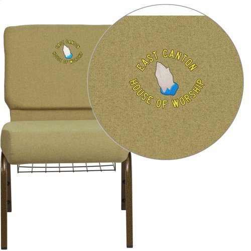 Embroidered HERCULES Series 21'' Wide Moss Green Fabric Church Chair with 4'' Thick Seat,Cup Book Rack - Gold Vein Frame