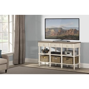 Hillsdale FurnitureSeneca Sofa Table - Sea White With Driftwood Top