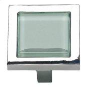 Spa Green Square Knob 1 3/8 Inch - Polished Chrome