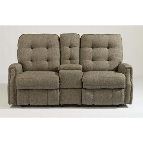 Devon Fabric Power Reclining Loveseat with Console and Nailhead Trim