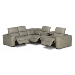 FLEXSTEELLexon Leather Power Reclining Sectional with Power Headrests
