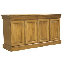 """68"""" 2 Drawer/4 Door Buffet, With Solid Maple Rectangular Wood Top Brushed Chrome Knobs, 1 Adjustable Shelf Each Side, 1 Fixed Half Shelf In Center"""