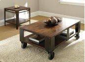 """Barrett Cocktail Table Wood Top & Shelf, 52""""x 32"""" x 19"""""""