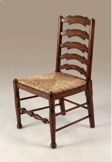 Umber Finished Mahogany Ladderback Side Chair, Abaca Rope Rush Seat