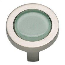 Spa Green Round Knob 1 1/4 Inch - Brushed Nickel