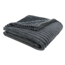 "THROW - 60"" X 50"" / GREY ULTRA SOFT RIBBED STYLE"