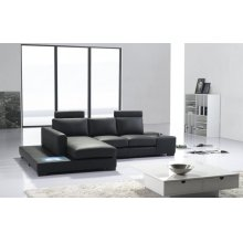 Divani Casa T35 Mini - Modern Leather Sectional Sofa with Light
