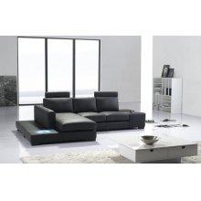 Divani Casa T35 Mini - Modern Leather Sectional Sofa with Light