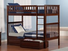 Woodland Bunk Bed Twin over Twin with Raised Panel Bed Drawers in Walnut