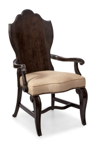 Continental Wood Back Arm Chair - Vintage Melange