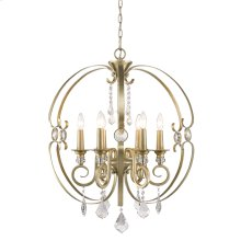 Ella 6 Light Chandelier in White Gold