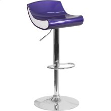 Contemporary Blue-Purple and White Adjustable Height Plastic Barstool with Chrome Base