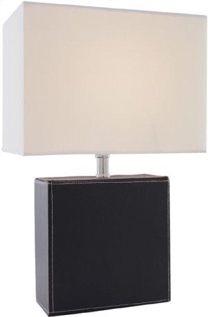 Table Lamp, Black Leather/off-white Fabric Shd, E27 Cfl 13w