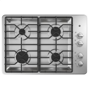 "30"" Built-In Gas Deep Recessed Stainless Steel Cooktop"