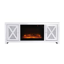 59 in. crystal mirrored TV stand with wood log insert fireplace