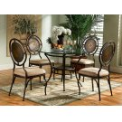 "5-Pc. Basil Dining Set: 364-410 Table Pedestal + GC2 48"" Dia. Glass Top + (4) 364-434 Chairs Product Image"