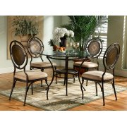 """5-Pc. Basil Dining Set: 364-410 Table Pedestal + GC2 48"""" Dia. Glass Top + (4) 364-434 Chairs Product Image"""
