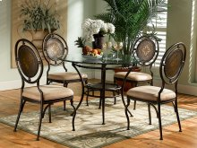 "5-Pc. Basil Dining Set: 364-410 Table Pedestal + GC2 48"" Dia. Glass Top + (4) 364-434 Chairs"