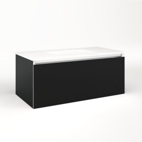 """Cartesian 36-1/8"""" X 15"""" X 18-3/4"""" Single Drawer Vanity In Matte Black With Slow-close Plumbing Drawer and No Night Light"""