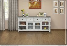 "80"" TV Stand w/ 4 Drawer & 2 Glass Doors"