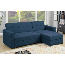Blue Chaise Sofa Futon bed with Storage