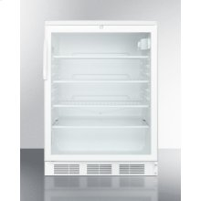 Commercially Listed Freestanding Glass Door All-refrigerator With White Cabinet and Lock