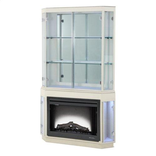 Pearl Caviar Fireplace W/curio Top & Electric Insert (3 Pc)