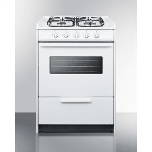 """Summit24"""" Wide Slide-in Gas Range In White With Sealed Burners, Oven Window, Light, and Electronic Ignition; Replaces Wnm616rw/wtm6107swrt"""