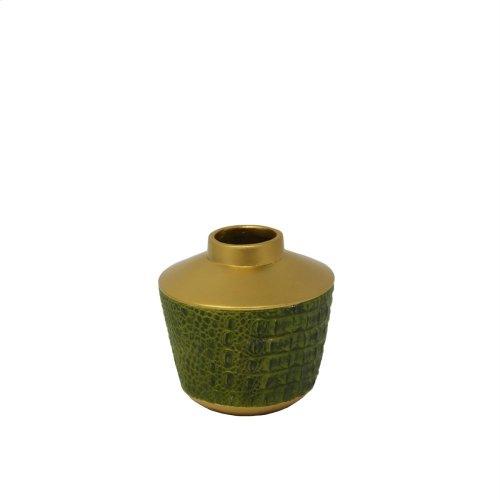 """Green/gold Alligator Vase 5"""""""