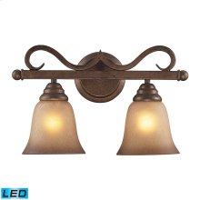 2 Light Vanity in Mocha and Antique Amber Glass - LED, 800 Lumens (1600 Lumens Total) with Full Scal
