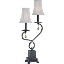 2 Lites Table Lamp - Dark Brz/off-white Shade, E12 B 60wx2