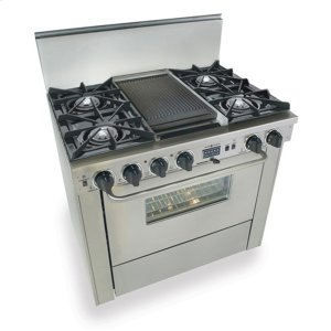 "Five Star36"" Dual Fuel, Convect, Self-Clean, Open Burners, Stainless Steel"