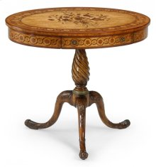 Oval marquetry lamp table