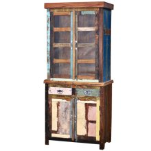 Reclaimed Wood Curio W/ Glass and 2 Drawers/Doors
