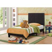 Mauve Upholstered Platform Brown Twin Bed