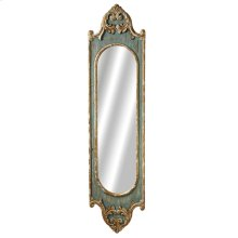 Tall Distressed Blue Scroll Wall Mirror with Gold Brush.
