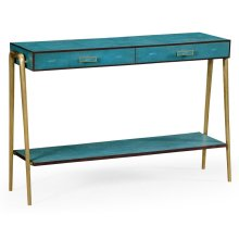Teal Faux Shagreen and Brass Legged Console