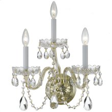 Traditional Crystal 3 Light Swarovski Strass Crystal Brass Sconce