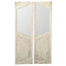 Distressed Ivory Door Window Wall Mirror (2 pc. ppk.)