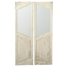 2 pc. ppk. Distressed Ivory Door Window Wall Mirror. (2 pc. ppk.)