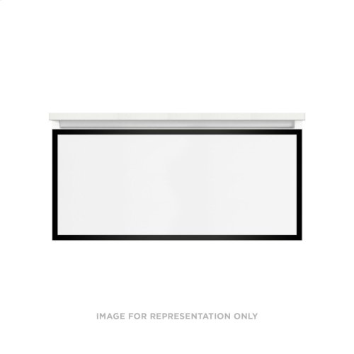 "Profiles 36-1/8"" X 15"" X 21-3/4"" Framed Single Drawer Vanity In Satin White With Matte Black Finish and Slow-close Full Drawer"