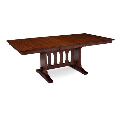 "Franklin Trestle II Table, Franklin Trestle II Table, 42""x84"", 1-18"" Stationary Butterfly Leaf on Each End"