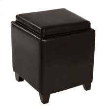 Rainbow Contemporary Storage Ottoman With Tray in Brown Bonded Leather