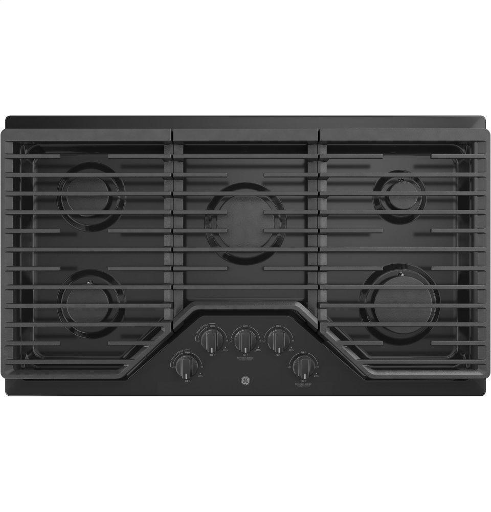 """GE(R) 36"""" Built-In Gas Cooktop  BLACK"""