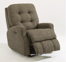 Devon Fabric Power Rocking Recliner with Power Headrest and without Nailhead Trim