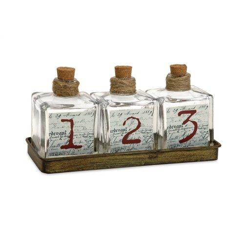 Oscar Glass Bottles in Metal Tray - Set of 4