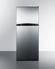 """24"""" Wide 9.9 CU.FT. Frost-free Refrigerator-freezer With Factory Installed Icemaker, Stainless Steel Doors, and Black Cabinet"""